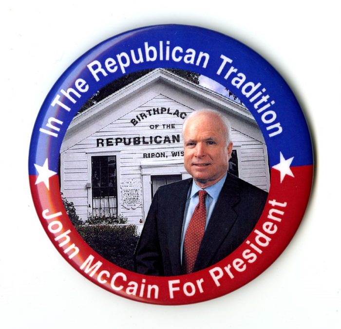 Campaign button featuring John McCain