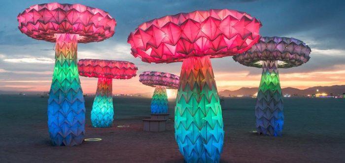Neon Mushroom sculptures at Burning Man