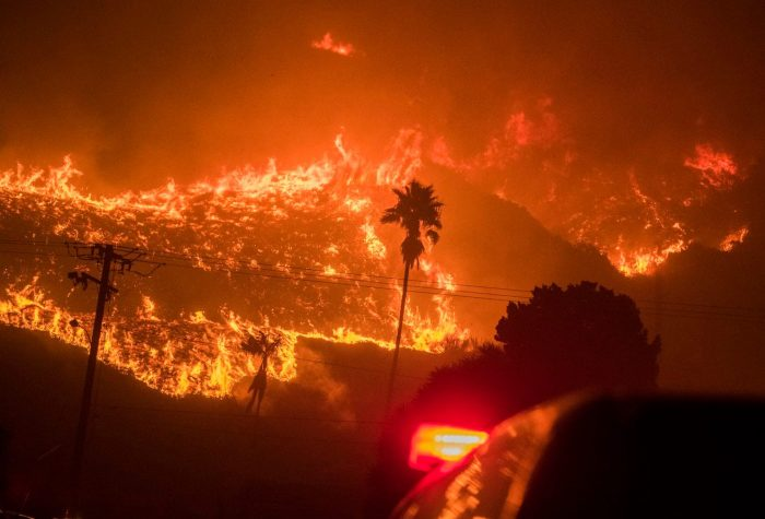 Raging wildfire in California hills
