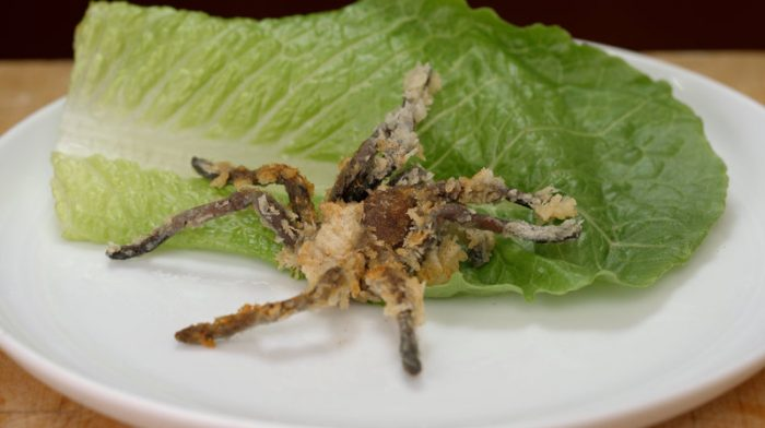 Fried spider with lettuce leaf