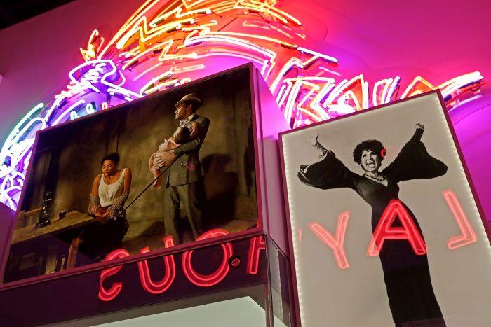 Neon-lit exhibit space