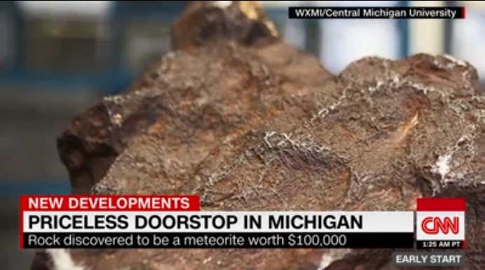 Screenshot of CNN segment on meteorite
