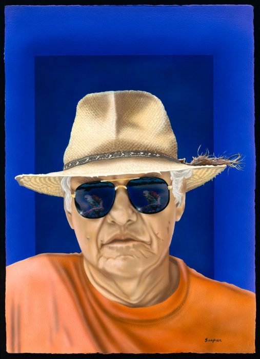 Brightly colored portrait of man wearing hat and sunglasses