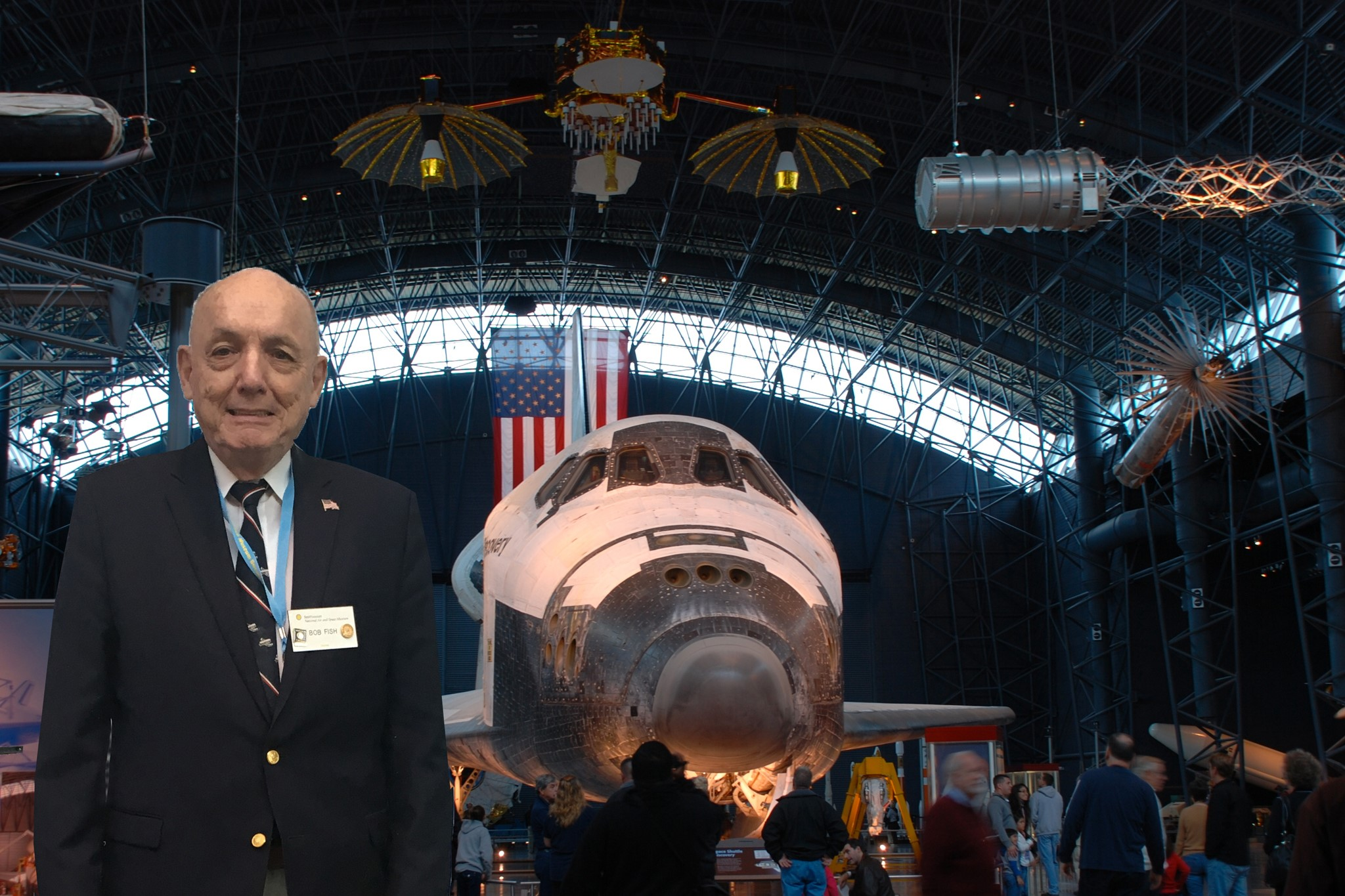 Fish poses in front of space shuttle