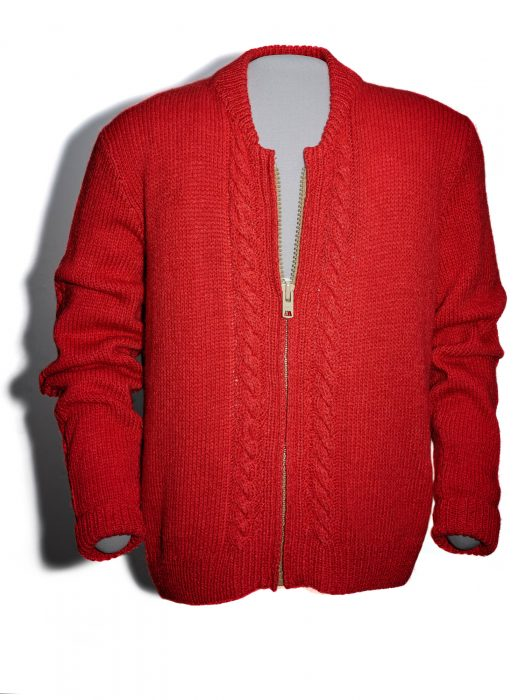 Red zippered cardigan