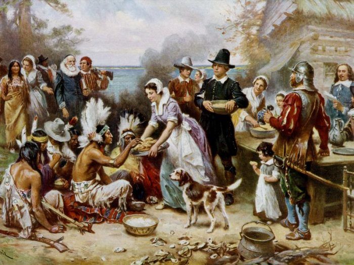 Idealized painting of first Thanlsgiving