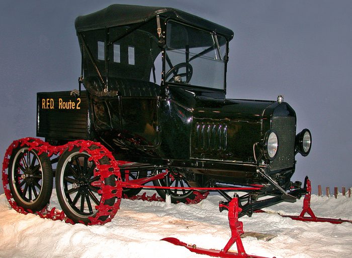 Model T equipped with skis