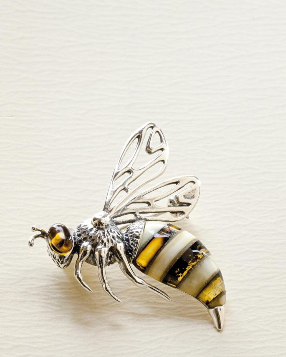 Amber and metal bee pin