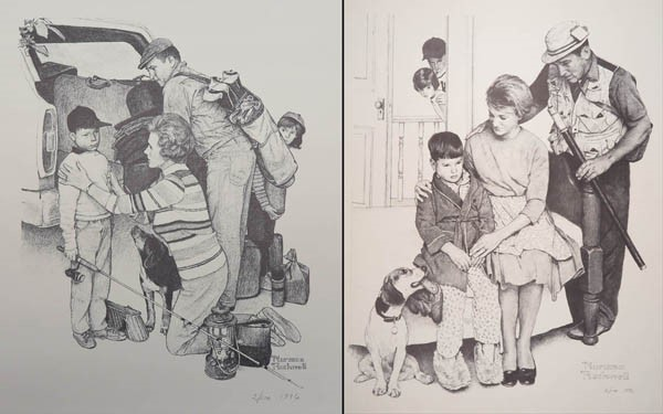 Two Rockwell prints showing sick children
