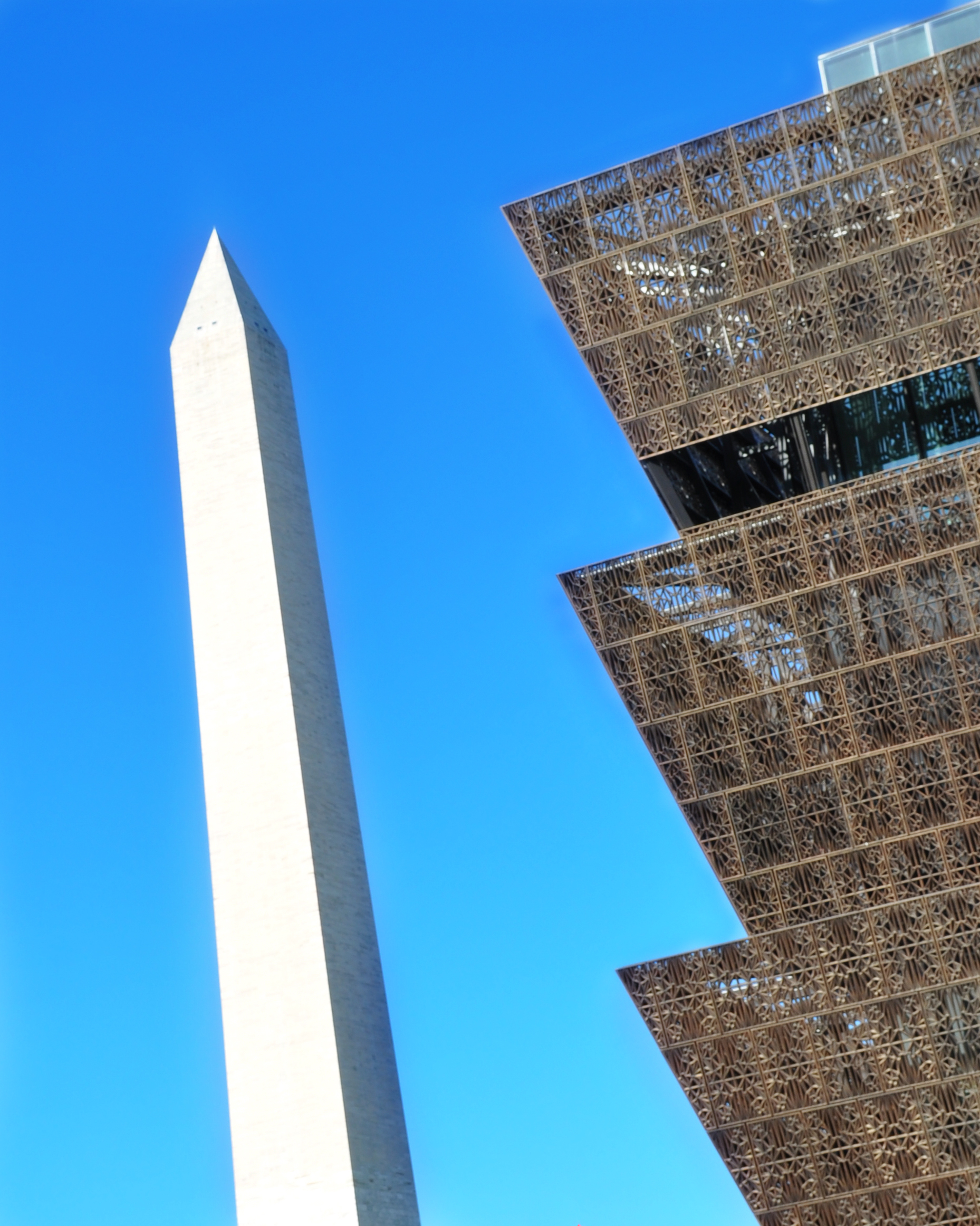 Museum at an angle with Washington Monument in background