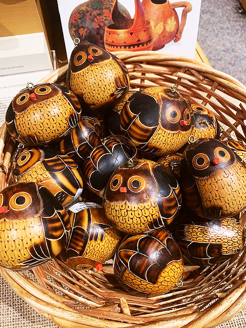 Basket of gourds painted like owls