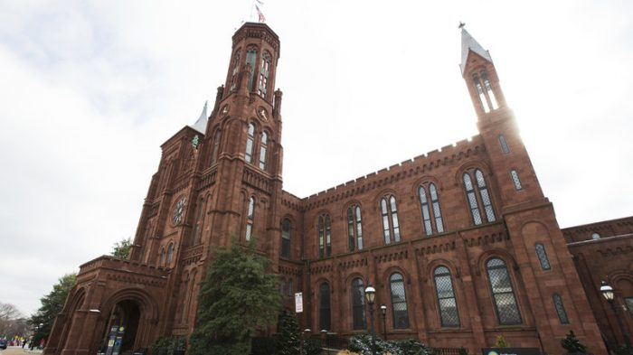 Side view of Smithsonian Castle