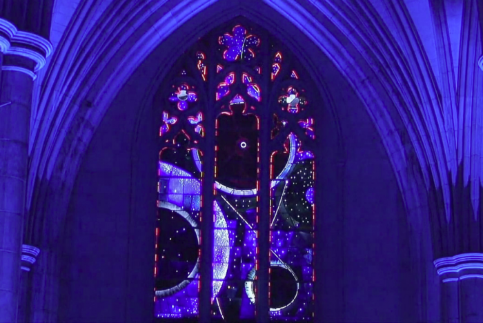 Space stained glass window in National Cathedral
