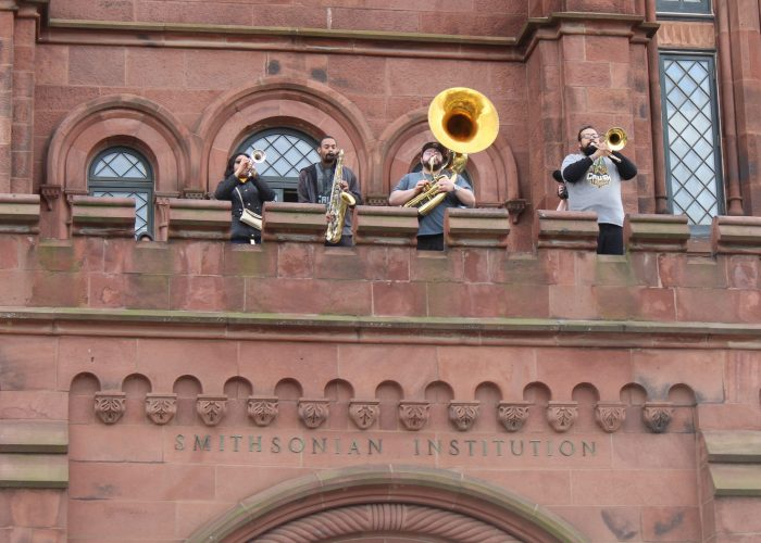 Brass players on balcony