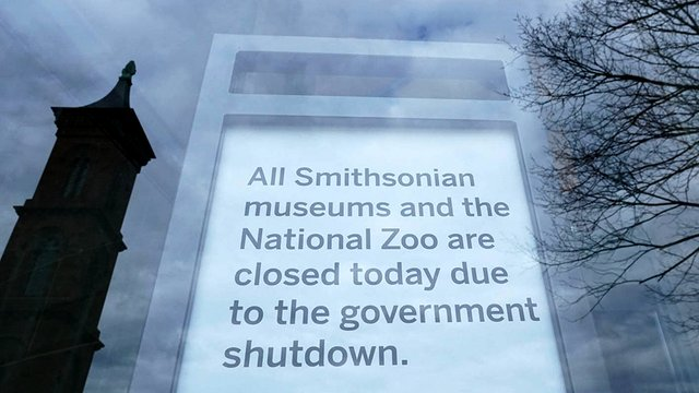 Sign saying Smithsonian Museums are closed