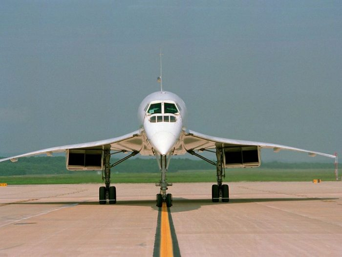 Concorde on runway photographed head on