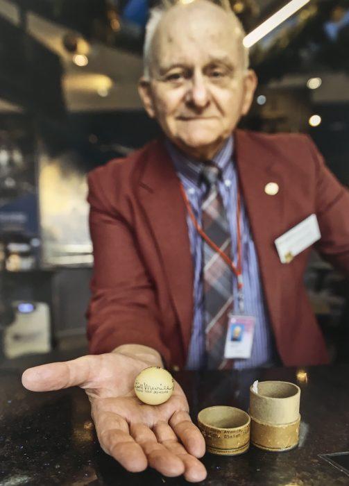Kovalchik holding a ping pong ball
