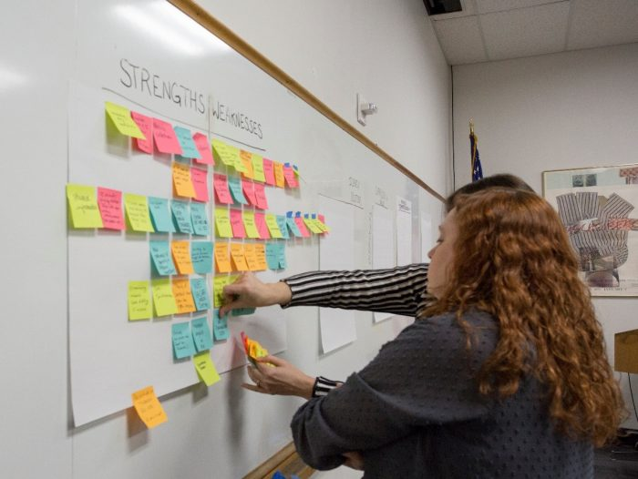 Two women place post-it notes on white board