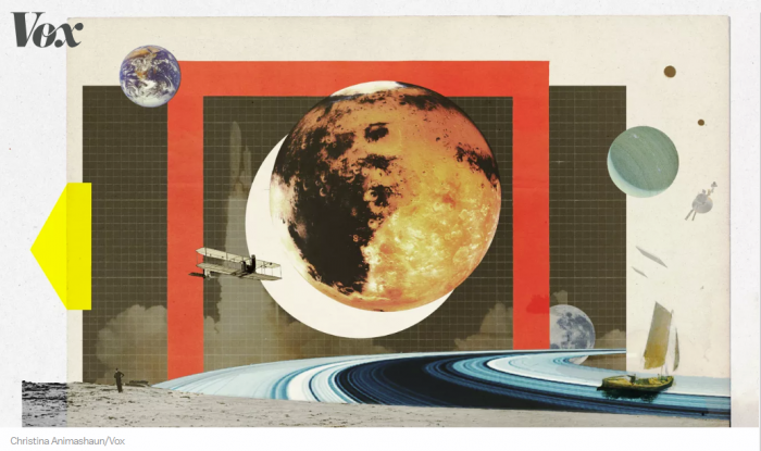 Graphic art collage of space objects