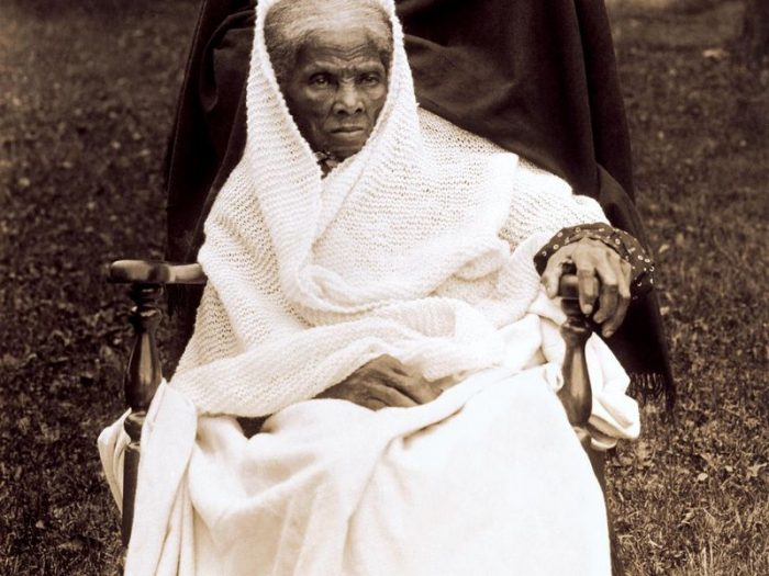 Older Tubman wrapped in shawl