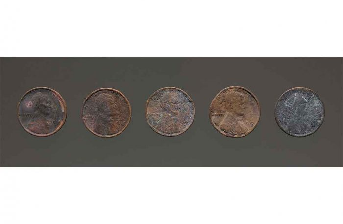 Charred pennies