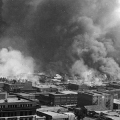 Cropped photo of burning buildings