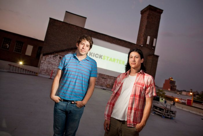 Kickstarter founders pose in front of headquarters