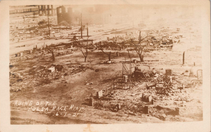 Postcard showing aftermath