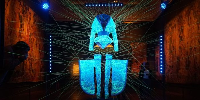 Neon blue art installation