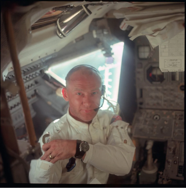 Aldrin in space capsule