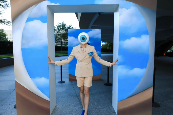 Person wearing eyeball costume