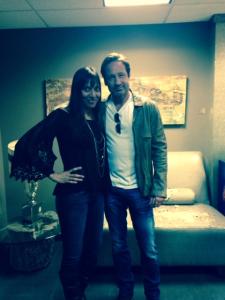 Kirin Jahangar posing with actor Duchovny