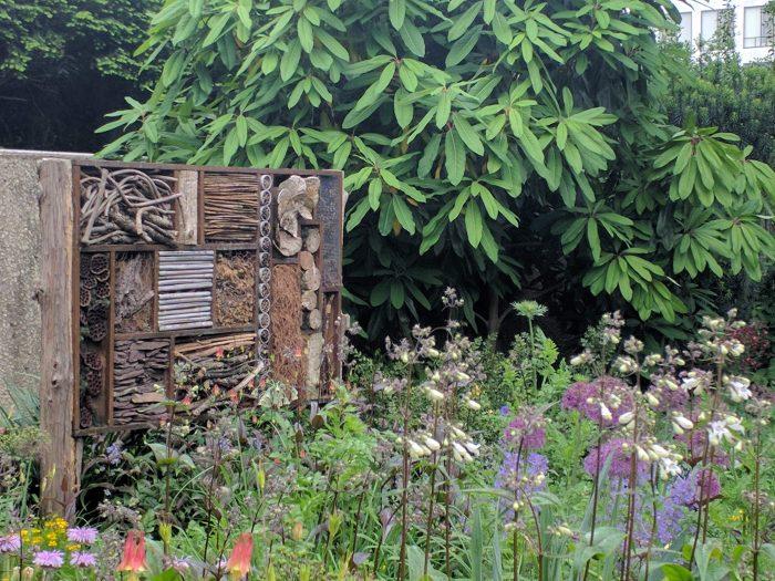 various insect habitats in garden
