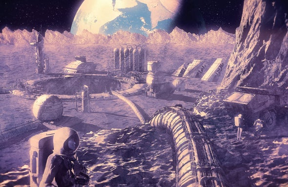 rendering of futuristic mining operation on the moon