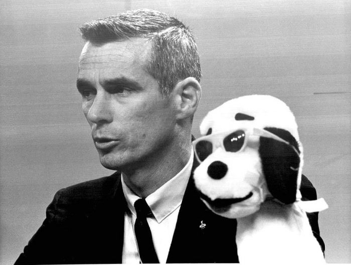 B&W photo of Cernan with toy Snoopy