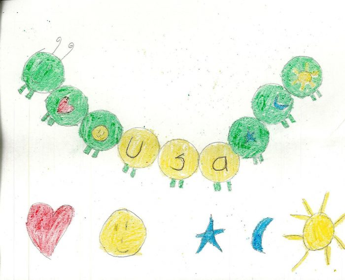 Child's drawing of baloons and USA