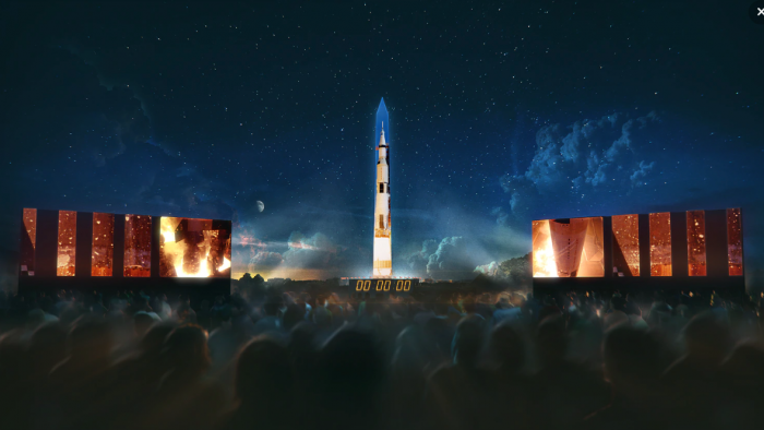 Artist rendering of space rocket projected onto Washington Monument