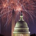 Fireworks exploding over Capitol, Washington Monument in background