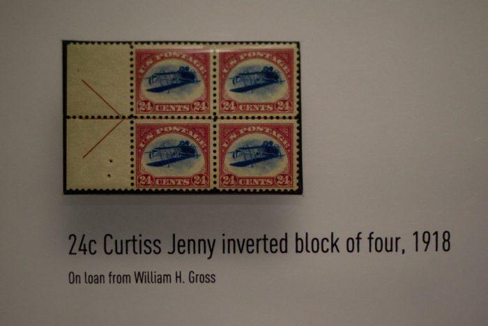 Inverted Jenny stamp on display
