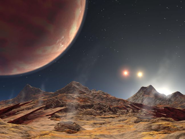 Artists rendering of planet with three suns