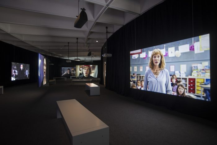 Gallery featuring video screens