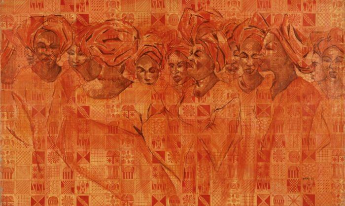 Bright orange painting of women