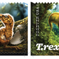 banner featuring two T. rex stamps