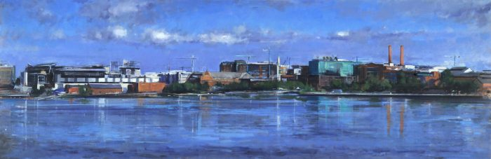 oil painting of waterfront