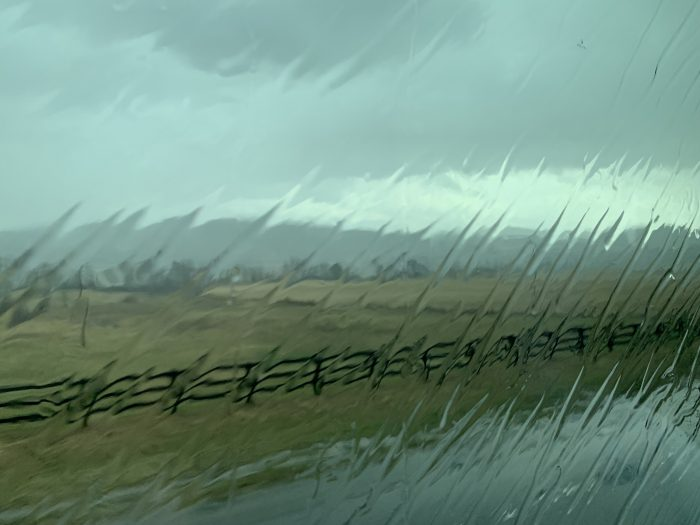 rainy field seen through glass