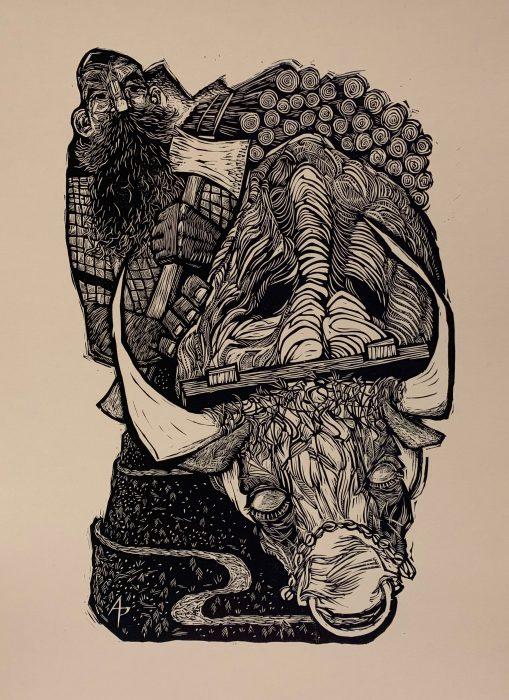 Linocut of ox
