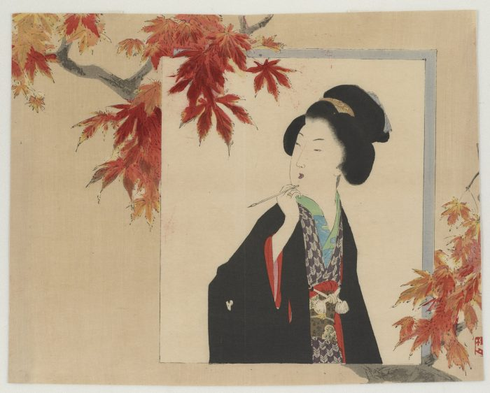 Woodblock print of Japanese woman with autumn leaves