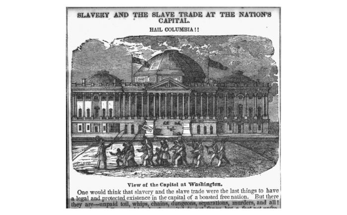 Newspaper image of slaves in front of the Capitol