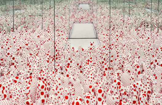 Mirrored room of red & white dots