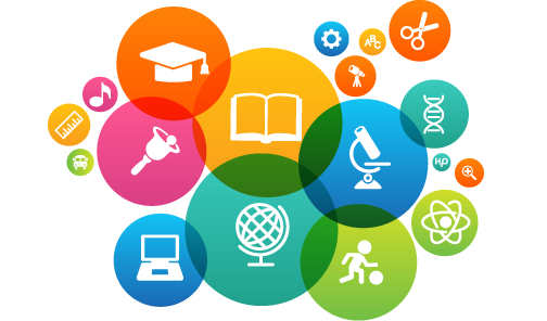 Graphic showing education-related icons